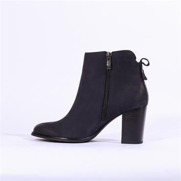 Caprice Block Heel Boot Diagonal Zip - Navy Nubuck