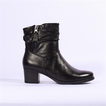 Caprice Folded Cuff Ankle Boot Side Zip - Black Leather