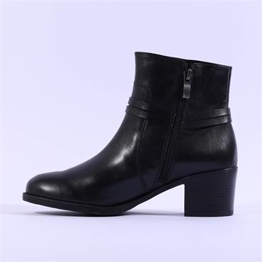 Caprice Caintry Block Heel Buckle Boot - Black Leather