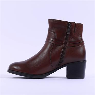 Caprice Caintry Block Heel Buckle Boot - Cognac Leather