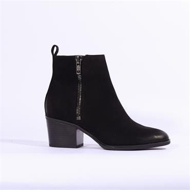 Caprice Block Heel Ankle Boot Side Zip - Black Nubuck