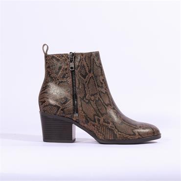 Caprice Block Heel Ankle Boot Side Zip - Snake