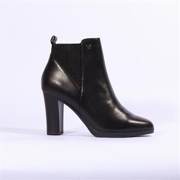 Caprice Elastic Gusset High Ankle Boot - Black Leather