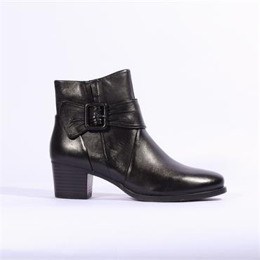 Caprice Soft Leather Strap Buckle Boot - Black Leather