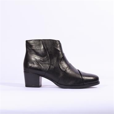 Caprice Soft Leather Patch Ankle Boot - Black Leather