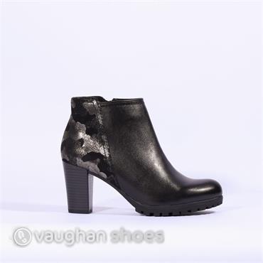 Caprice Chunky Heel Boot Print Heel - Black Combi