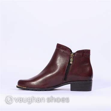 Caprice Metal Tip Ankle Boot Side Zip - Bordo