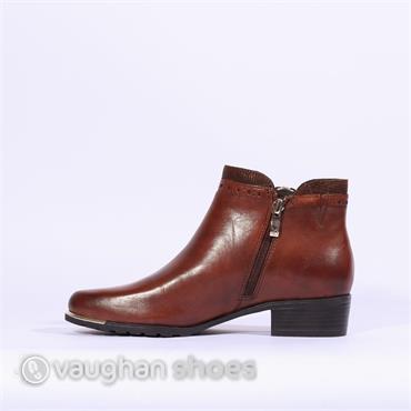 Caprice Metal Tip Ankle Boot Side Zip - Cognac