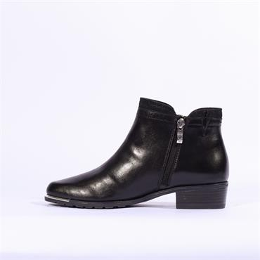Caprice Metal Tip And Zip Ankle Boot - Black Combi Lea