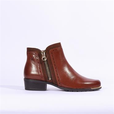 Caprice Metal Tip And Zip Ankle Boot - Cognac Leather