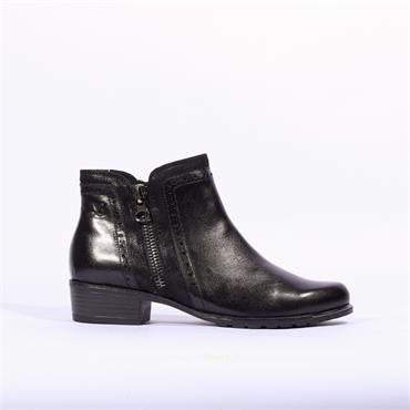 Caprice Trim Side Zip Ankle Boot Kelli - Black Leather