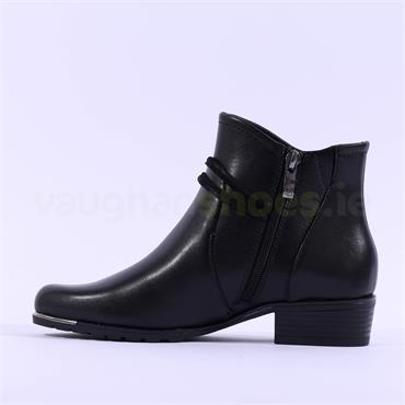 Caprice Kellie Strap Buckle Ankle Boot - Black Leather