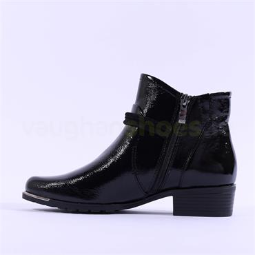 Caprice Kellie Strap Buckle Ankle Boot - Black Patent