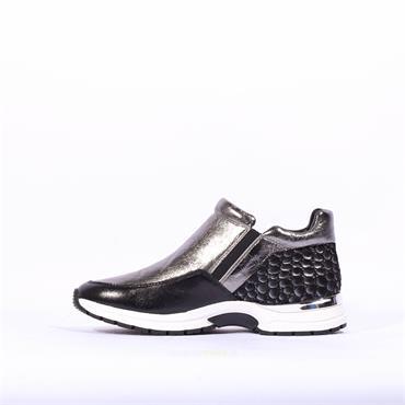 Caprice Side Zip Boot Lea - Silver Black Combi