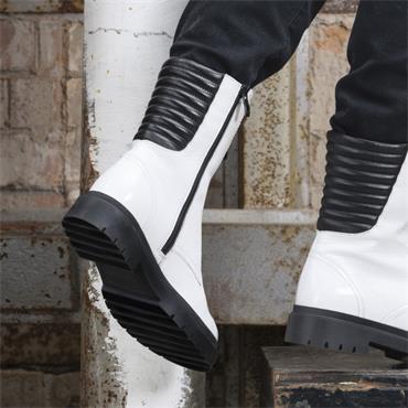 Caprice Nevada Front Zip Biker Boot - White Patent