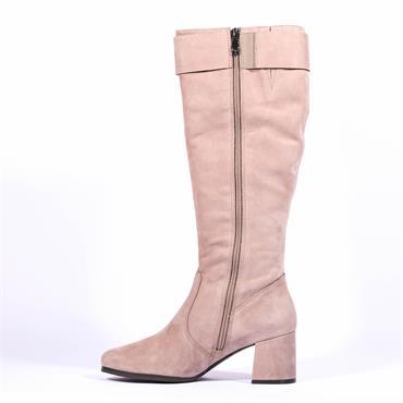 Caprice Knee High Block Heel Boot Lydia - Taupe Nubuck