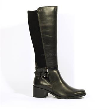 Caprice Fiona Block Heel Double Buckle - Black Combi