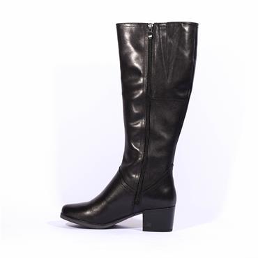Caprice Block Heel Knee High Boot Bella - Black Leather