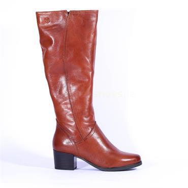 Caprice Block Heel Knee High Boot Bella - Cognac Leather