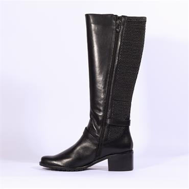 Caprice Double Strap Stretch Long Boot - Black Leather