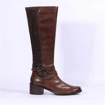 Caprice Double Strap Stretch Long Boot - Dark Brown