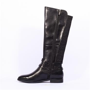 Caprice Knee High Strappy Boot Joleen - Black Leather