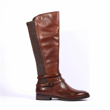 Caprice Knee High Strappy Boot Joleen - Cognac