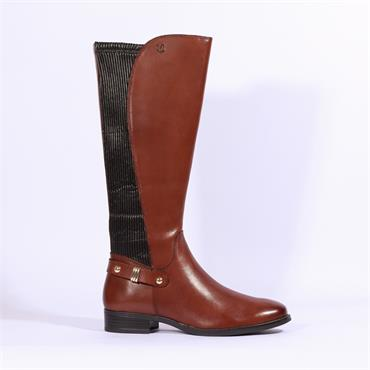 Caprice Knee High Boot Stretch Gusset - Cognac Leather