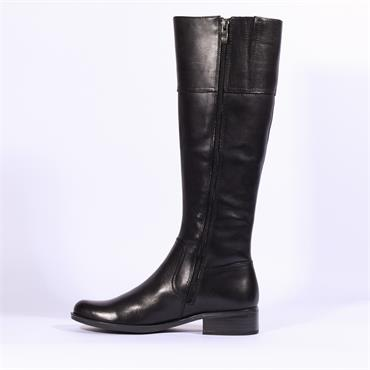 Caprice Slim Calf Knee High Leather Boot - Black Leather