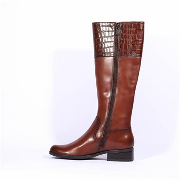 Caprice Knee High Flat Boot Kania - Cognac