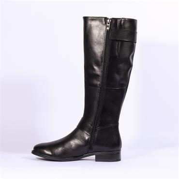 Caprice Long Leather Boot Pattern Strip - Black