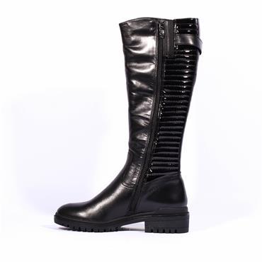 Caprice Slim Knee High Biker Boot Faria - Black Leather