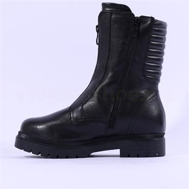 Caprice Nevada Front Zip Biker Boot - Black Leather