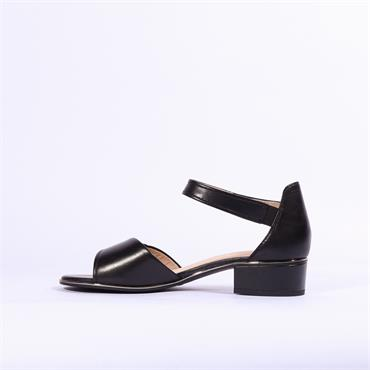 Caprice Carla Low Block Heel Sandal - Black Leather