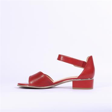 Caprice Carla Low Block Heel Sandal - Red Leather