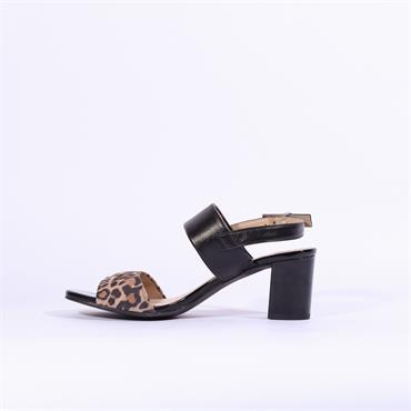 Caprice Edison Block Heel Sandal - Black Leopard Combi