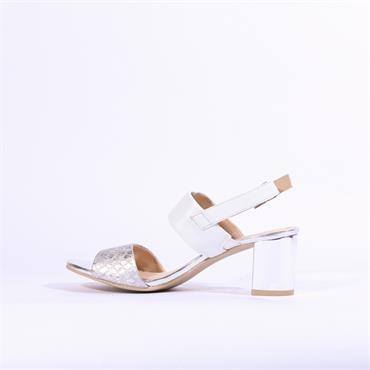 Caprice Edison Block Heel Sandal - White Silver