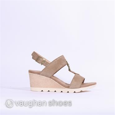 Caprice Elena Wedge Sandal - Taupe Suede