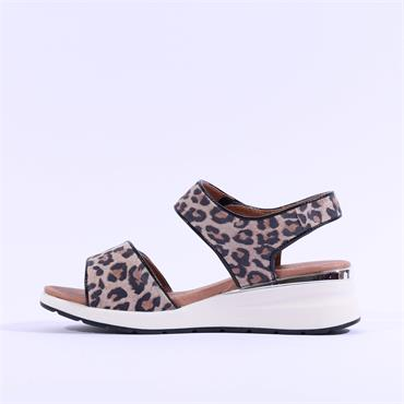 Caprice Double Strap Wedge Sandal Milano - Leopard Print