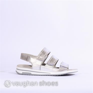 Caprice 3 Strap Velcro Sandal - Silver