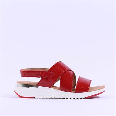 Caprice Strappy Patent Sandal Kandy - Red Patent