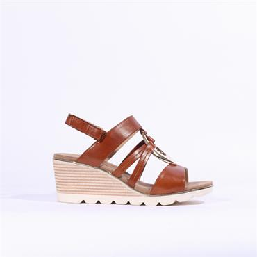 Caprice Elena Wedge Sandal Metal Detail - Cognac Leather