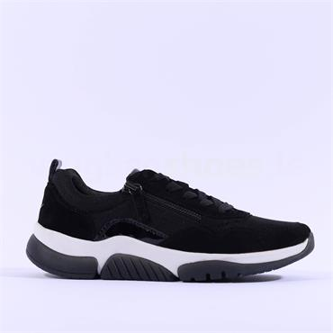 Gabor Rolling Soft Aston Laced Trainer - Black Combi