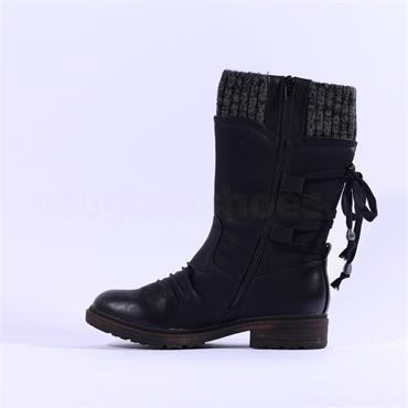 Rieker Sock Top Laced Back Tex Belinga - Black