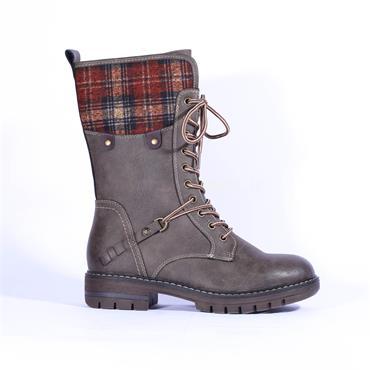 Rieker Barya Mid Calf Laced Boot - Grey