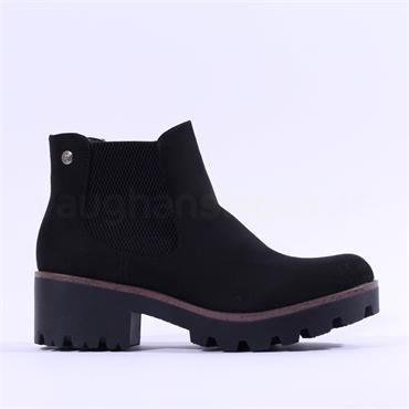 Rieker Platform Gusset Ankle Boot - Black Suede