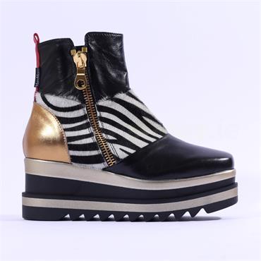 Marco Moreo Luna Side Zip Ankle Boot - Zebra Combi