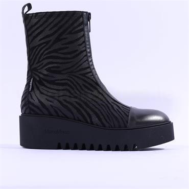 Marco Moreo Sole Toe Cap Zip Front  Boot - Black Zebra