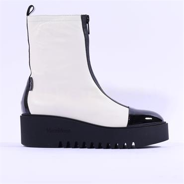 Marco Moreo Sole Toe Cap Zip Front  Boot - Off White Leather