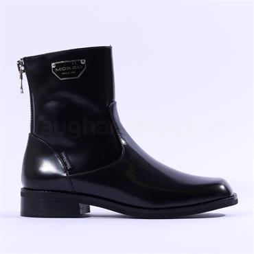 Marco Moreo Miu Rear Zip Ankle Boot - Black Leather